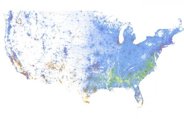 Dynamic Map of U.S.A. A dot per person.